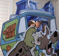 The author and friends in the Mystery Machine, Great America theme park, CA